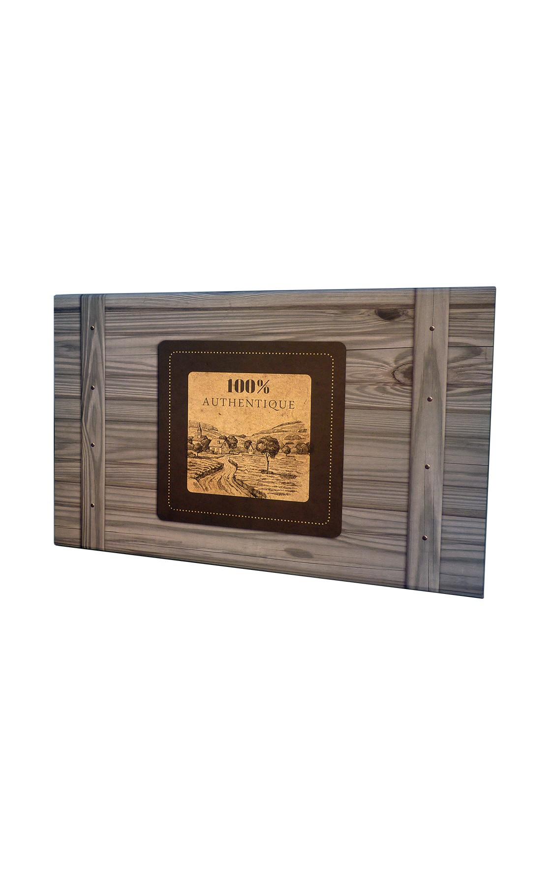 Coffret rectangle décor 100% Authentique gris 33x21x12 cm