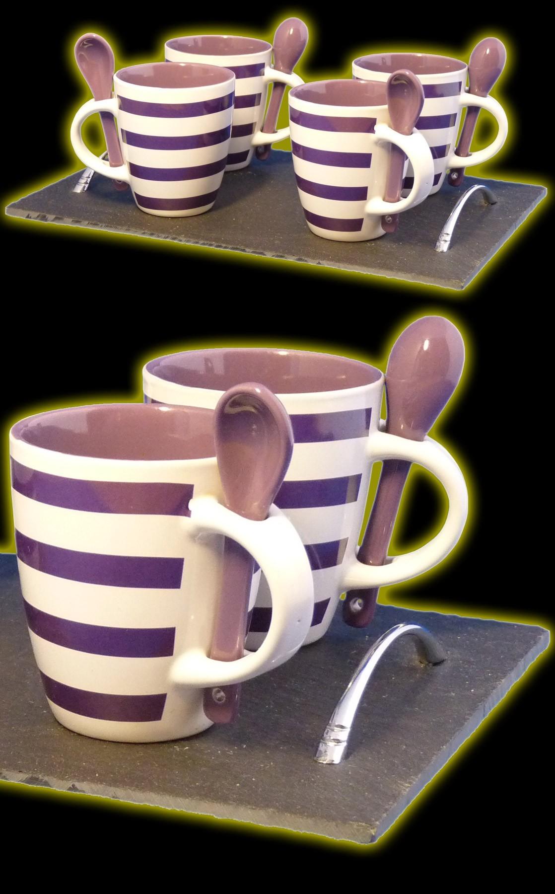 Plateau ardoise et 4 mugs avec cuillères