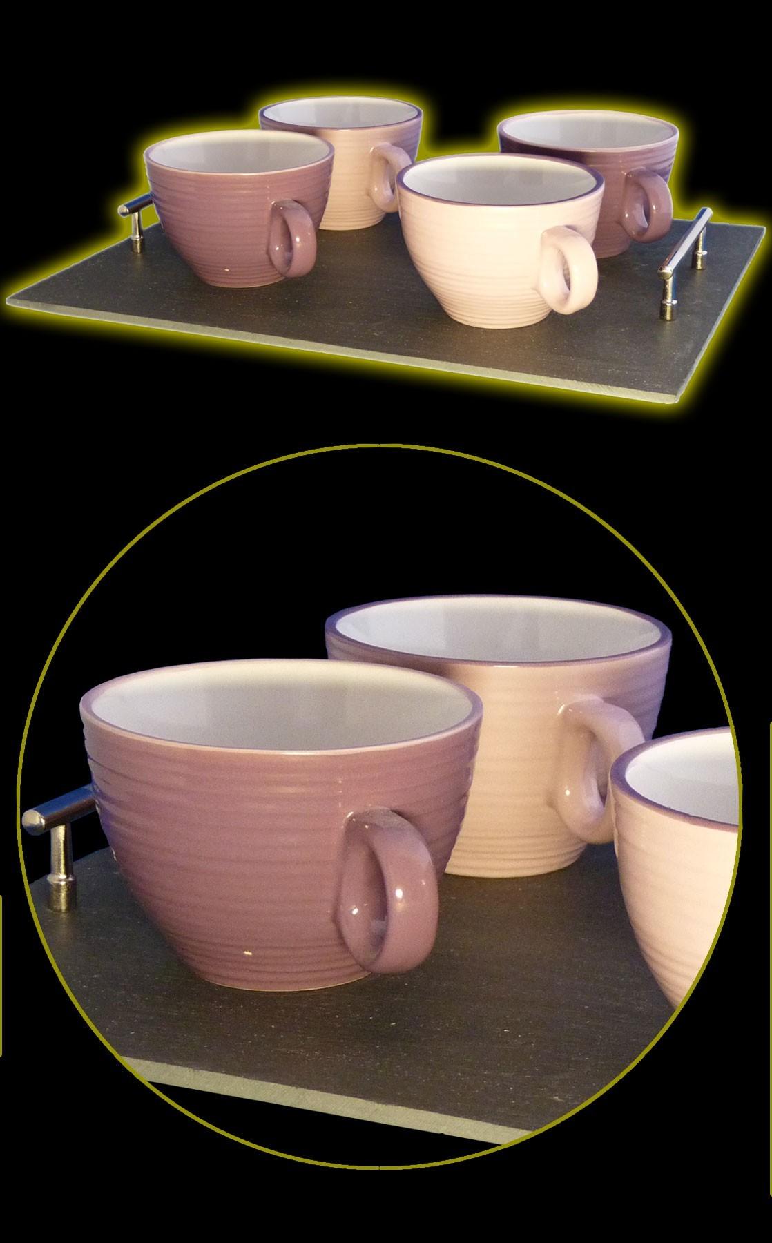 Grand Plateau ardoise et 4 bols violet et rose