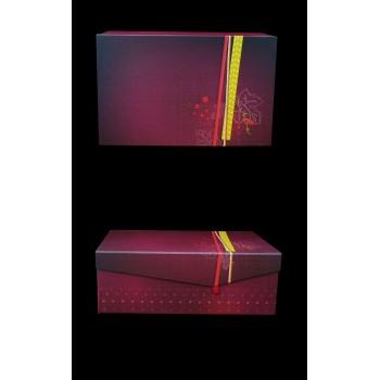 Coffret rectangle fermeture aimantée décor toile de jute coloris lie de vin 33x21x12 cm