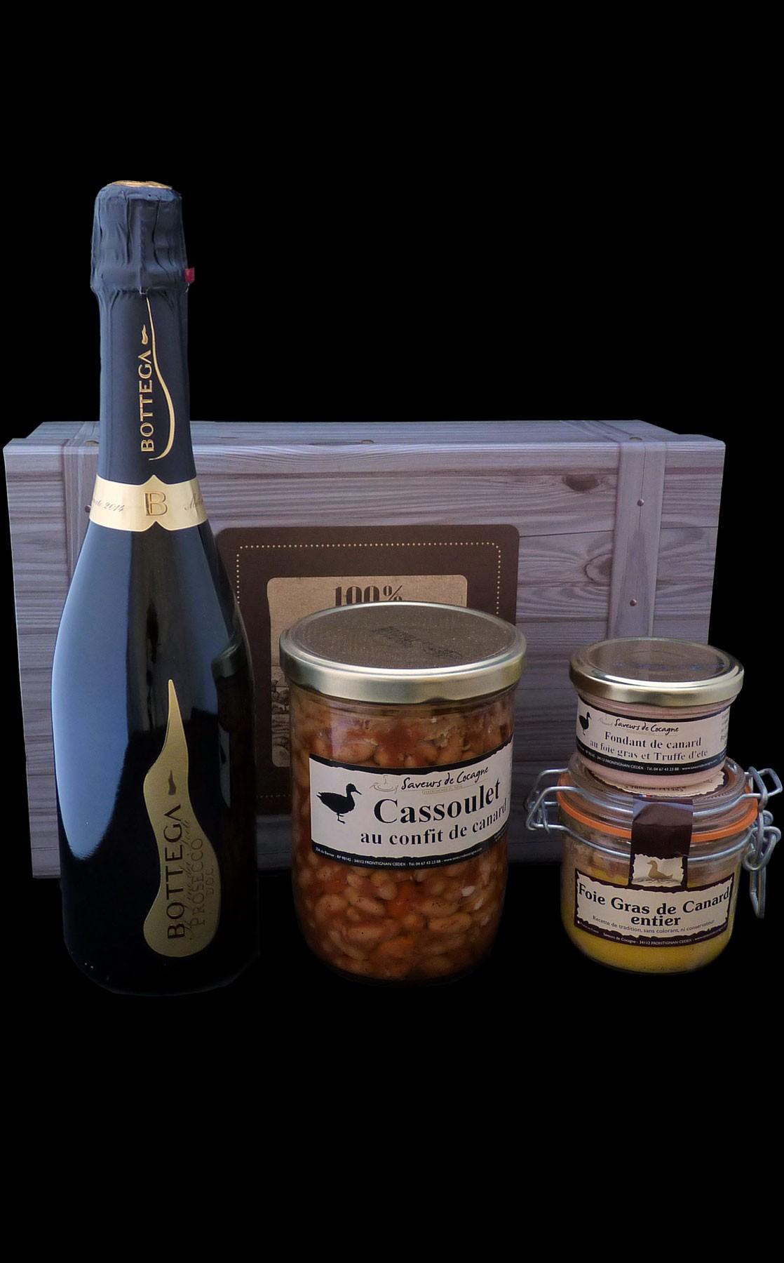 Coffret authentique foie gras, cassoulet et Prosecco Bottega