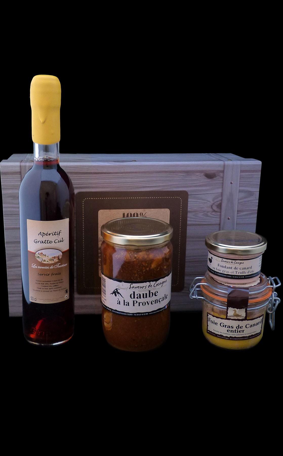 Coffret authentique foie gras, daube et apéritif Gratte-Cul