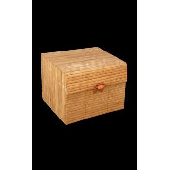 Coffret carré rigide  bambou et bois