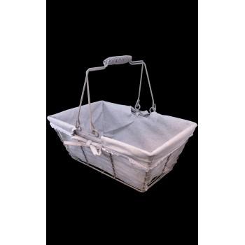 Panier métal rectangle gris tissu gris/liseré crochet blanc F041P anses rabattables 30x20x13 cm