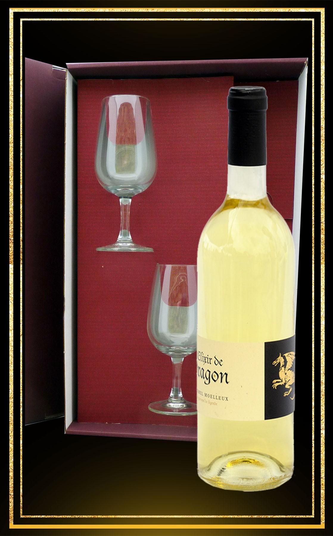 Coffret cadeau Elixir de Dragon, 2 verres à vin et Hydromel moelleux 75cl