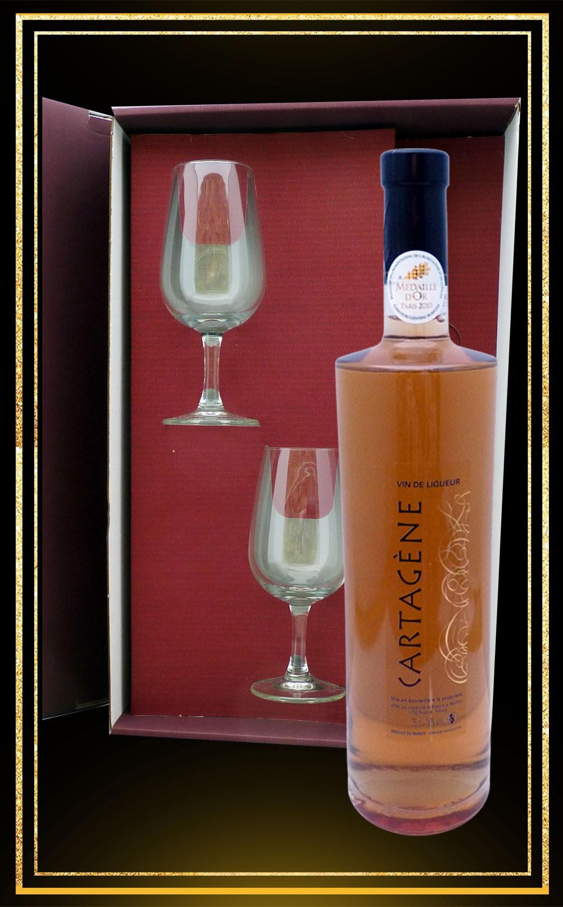 Coffret cadeau Cartagène, 2 verres à vin et Cartagène du Languedoc 75cl