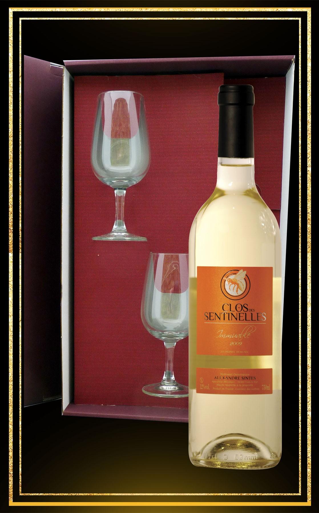 Coffret cadeau Immuable, 2 verres à vin et ydromel demi-sec 75cl