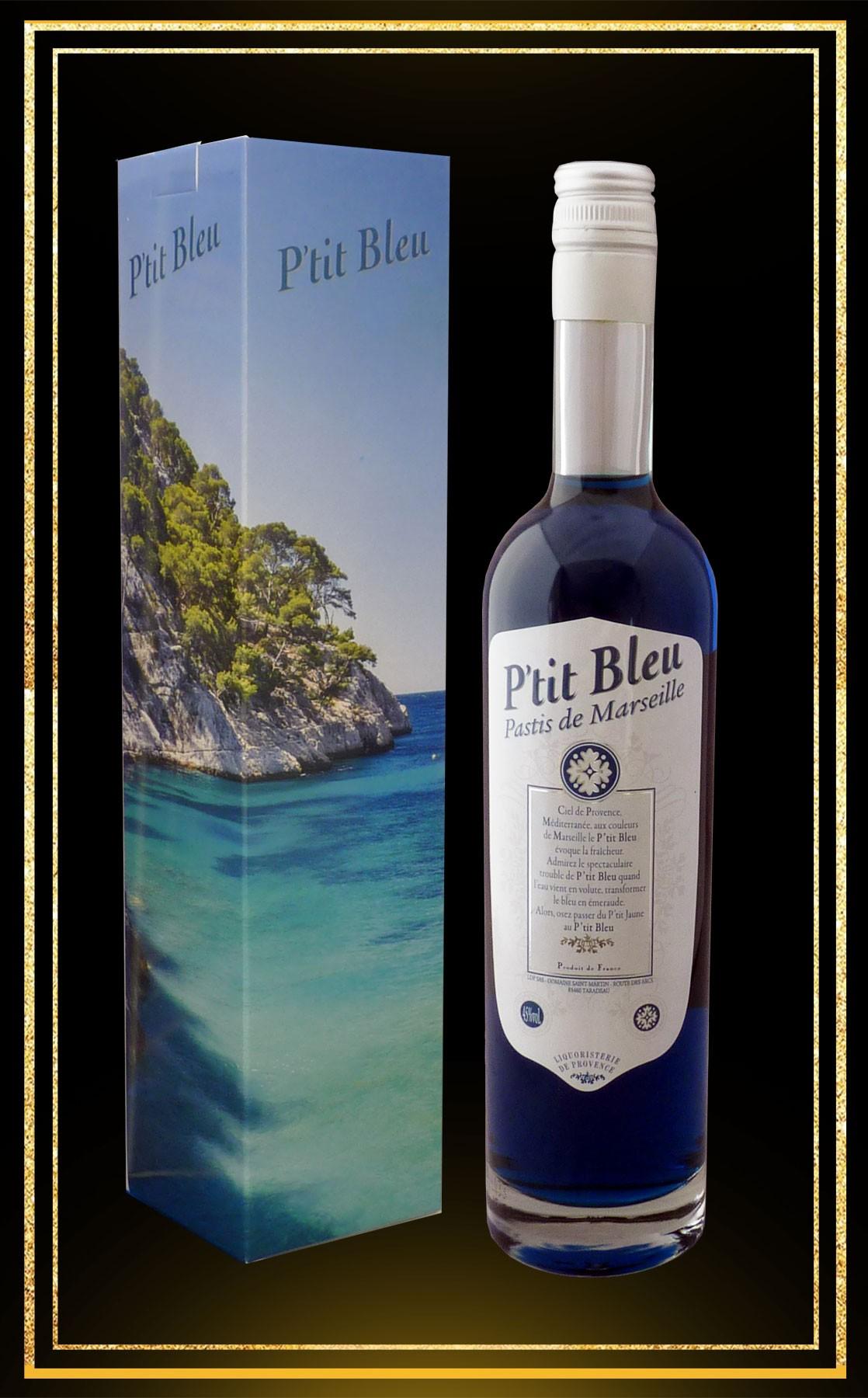 """Coffret cadeau Pastis des """"Calanques"""" P'tit Bleu 70 cl"""