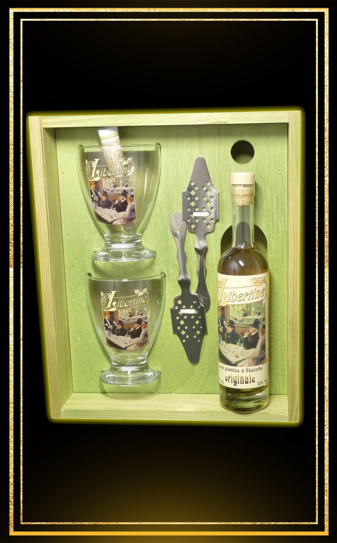 Coffret bois Absinthe Libertine Originale 20cl 2 verres et 2 cuillères