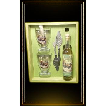 Coffret cadeau bois Absinthe Libertine Intense 20 cl 2 verres et 2 cuillères