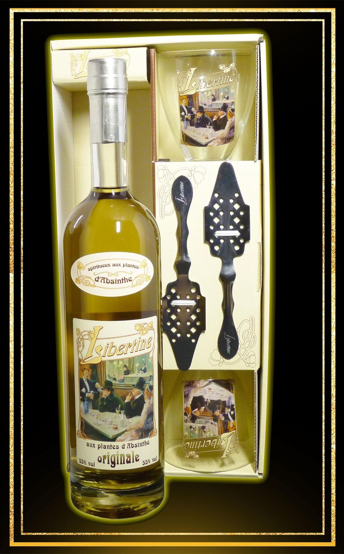 Coffret cadeau Libertine Originale 70cl 2 verres et 2 cuillères
