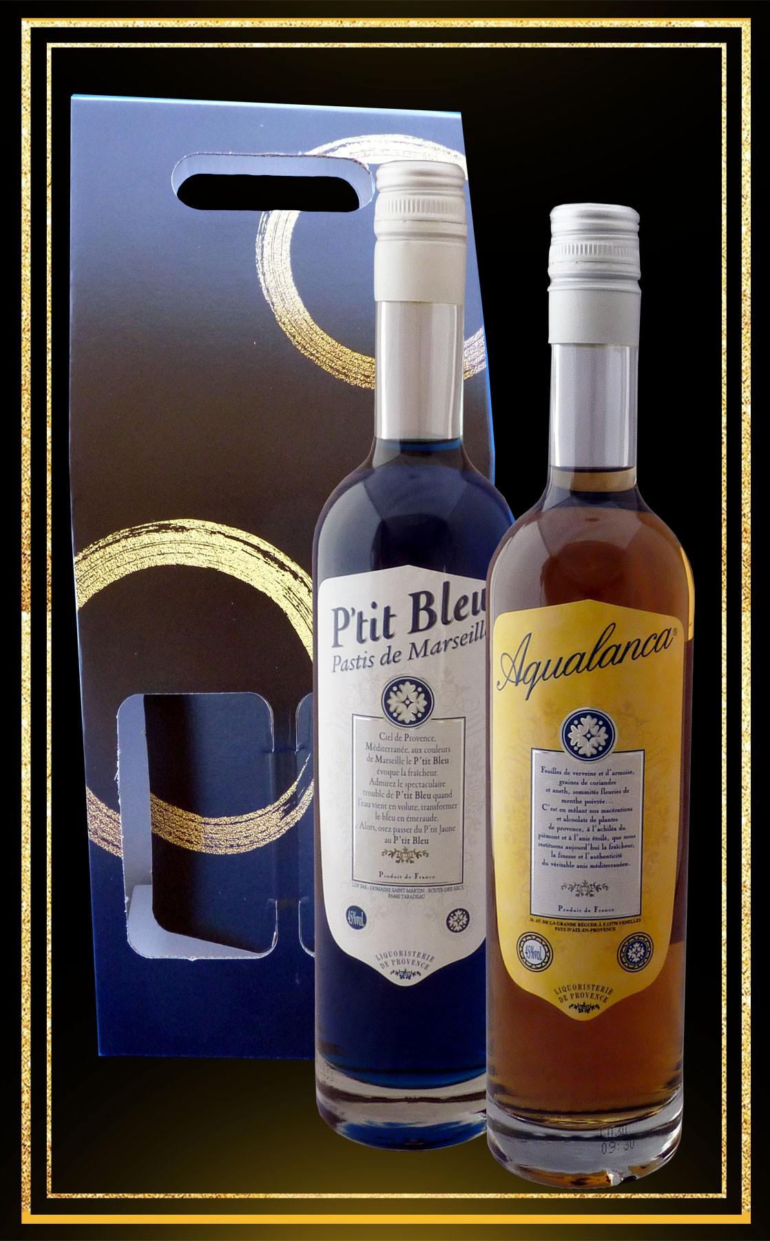 Coffret Duo Anis et Pastis Aqualanca et P'tit Bleu 70cl