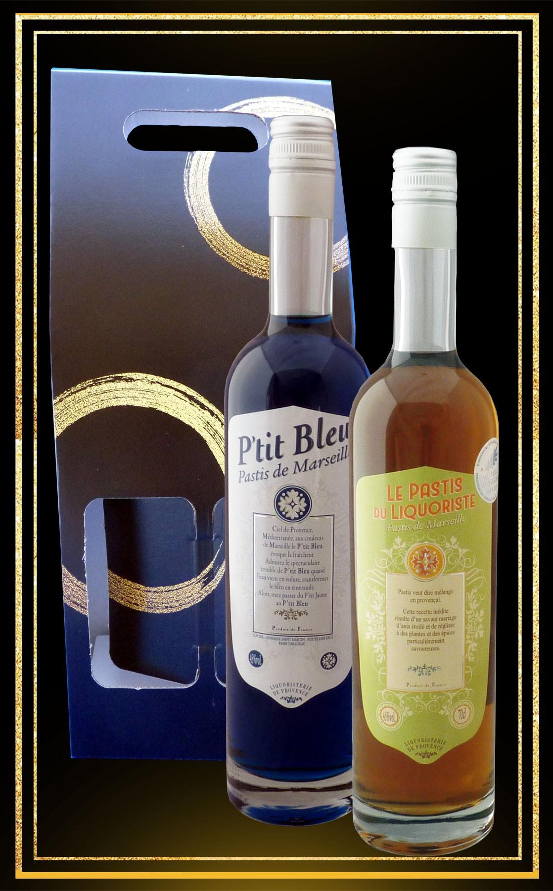 Coffret cadeaux 2 pastis Pastis du Liquoriste et P'tit Bleu 70cl
