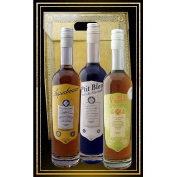 Coffret cadeau Les 3 Anis Aquanalanca, P'tit Bleu et Pastis du Liquoriste 70cl