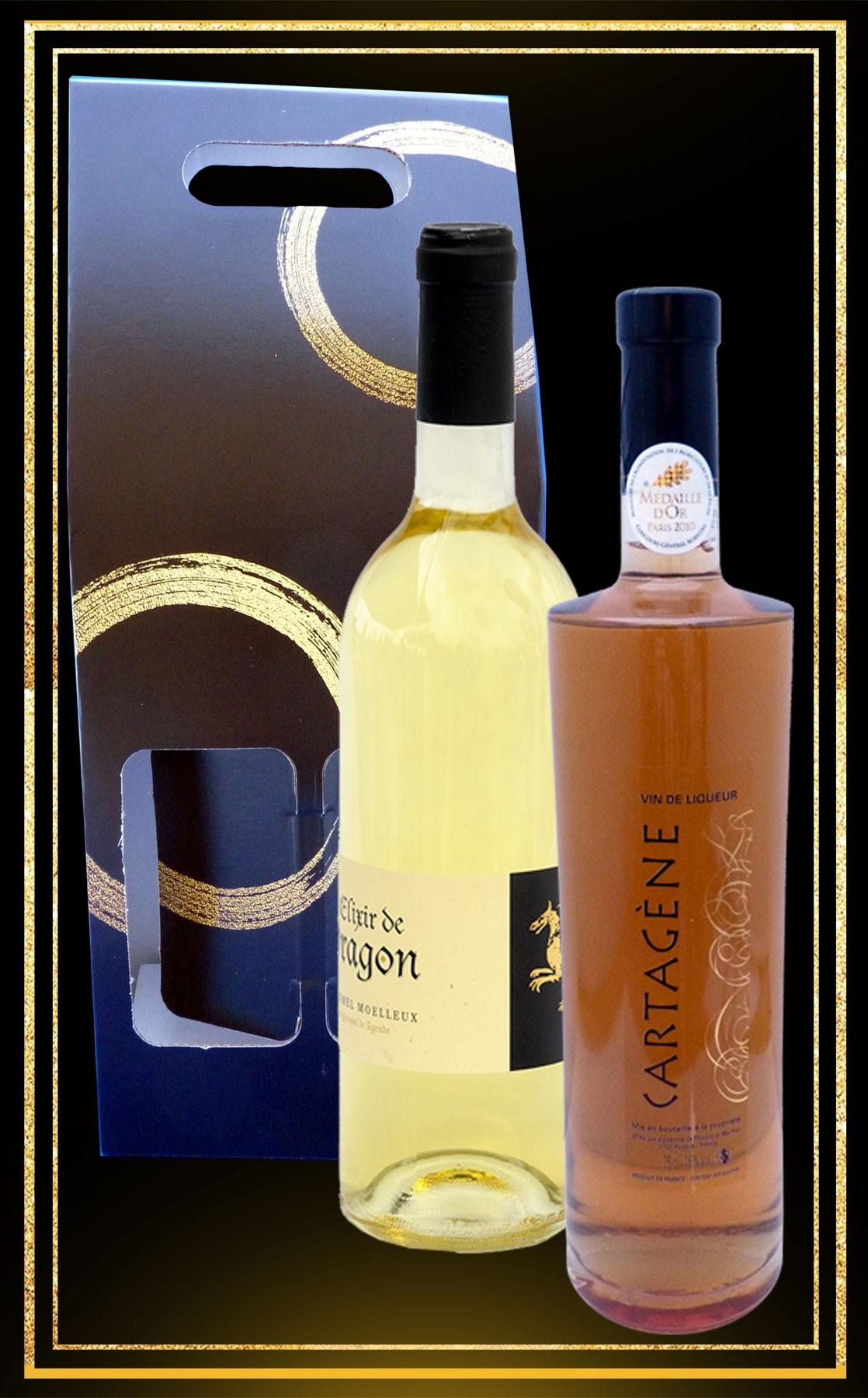 Coffret cadeau Hydromel Elixir du Dragon et Cartagène du Languedoc 75cl