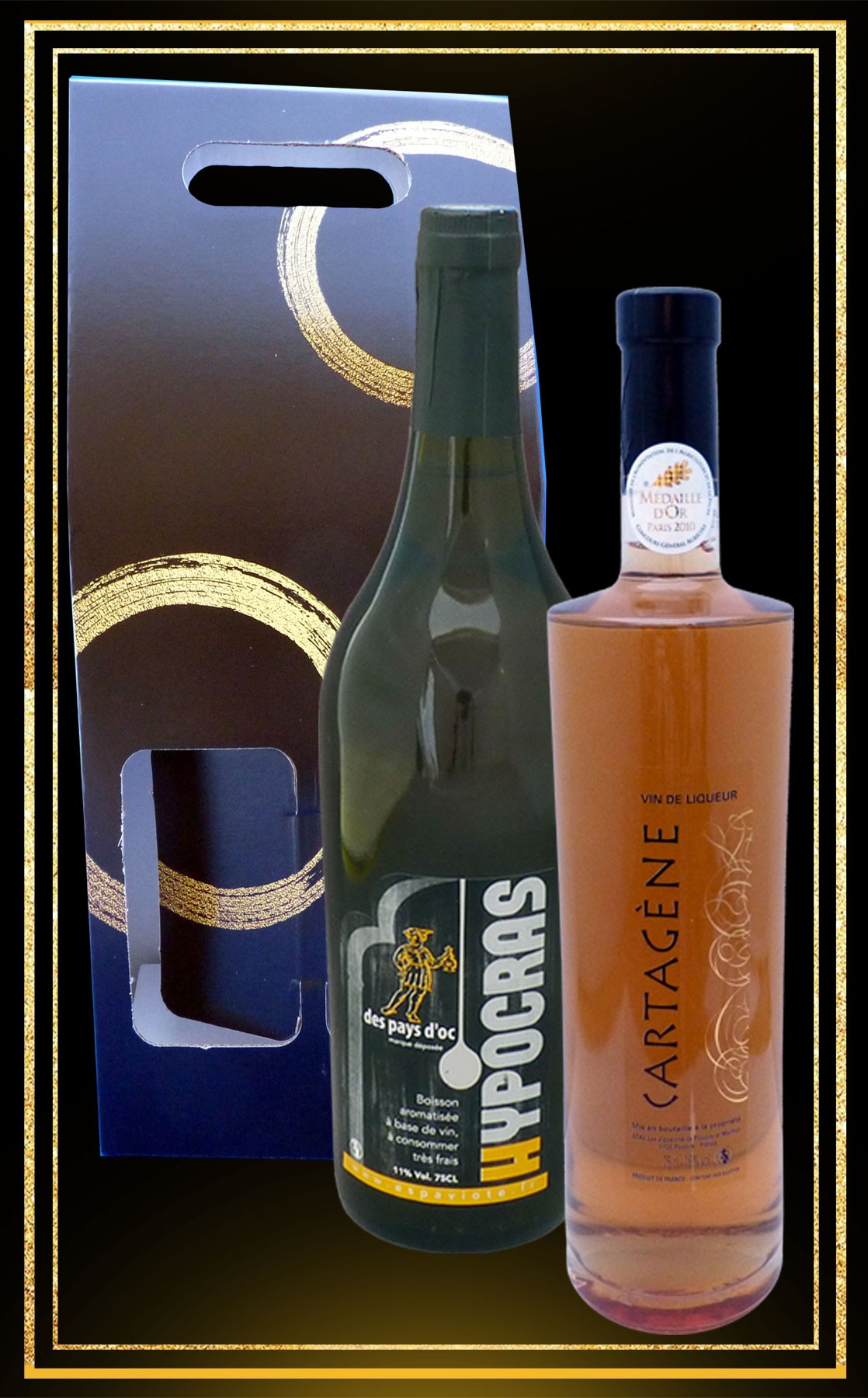 Coffret cadeau Hypocras Blanc et Cartagène du Languedoc 75cl