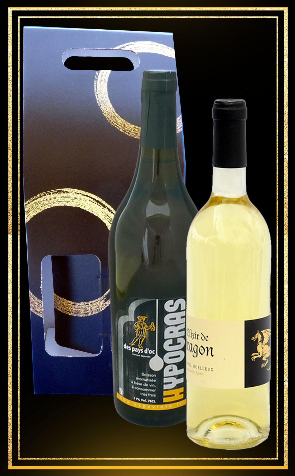 Coffret cadeau Hypocras Blanc et Hydromel moelleux Elixir de Dragon 75cl