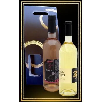 Coffret cadeau Hydromel moelleux Elixir de Dragon et vin Rosae Vinum à la rose 75cl