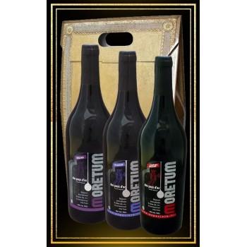 Coffret 3 vins du moyen age aux fruits Moretum cerise, prune et mûre