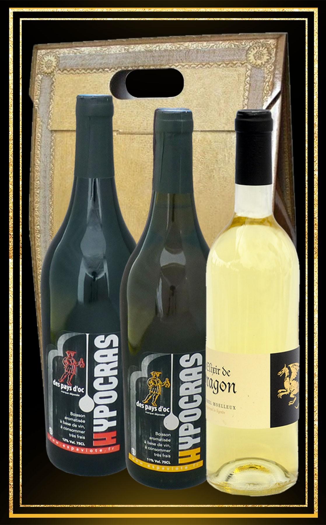 Coffret boissons du moyen age vin d'Hypocras blanc et rouge et Hydromel moelleux elixir de dragon 75cl