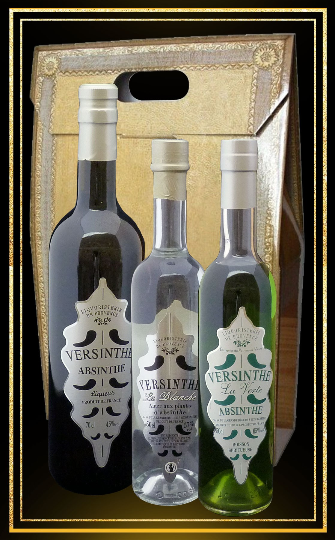 Coffret Les 3 Absinthes Versinthe, La Blanche et la Verte